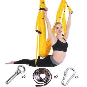 Image 4 - Volledige Set 6 Handgrepen Anti Zwaartekracht Antenne Yoga Plafond Hangmat Vliegende Swing Trapeze Yoga Inversie Apparaat Home Gym Opknoping riem