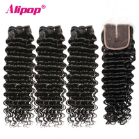 Deep Wave Bundles With Closure Peruvian Hair 3 Bundles Human hair Bundles With Lace Closure TOP 4x4 Remy Hair Extensions ALIPOP