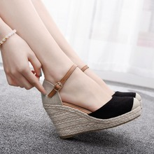 Crystal Queen Women Shoes Suede Wedges High Ankle Sandals Round Toe Casual Shoes High Slope Round Head Sandals Dress Shoes