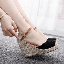 Pha lê Nữ Giày Nữ Da Lộn Nêm Cao Cổ Chân Giày Sandal Mũi Tròn Giày Cao Độ Dốc Đầu Tròn Giày Sandal Đầm Giày