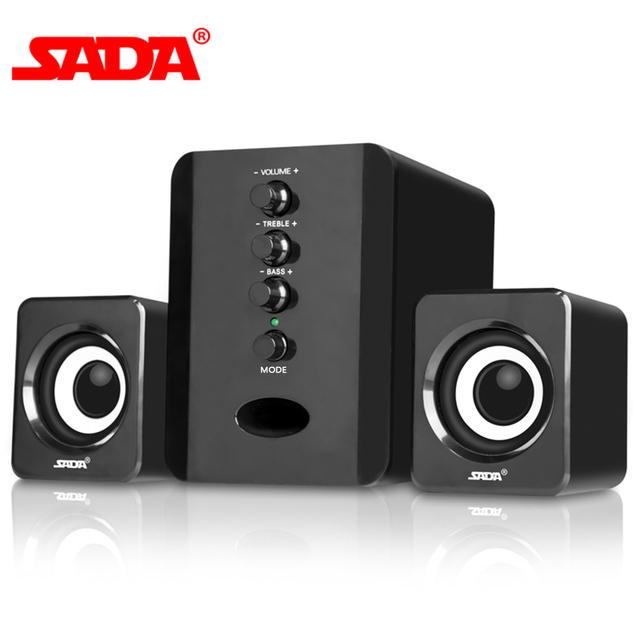 Ada D 202 Altavoces de combinación con cable USB para ordenador, reproductor de música estéreo de graves, Subwoofer, caja de sonido para PC y teléfonos inteligentes