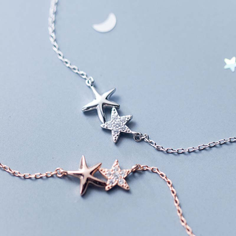 925 Sterling Silver Crystal Star Necklace Choker for Women Round Rhinestone Fashion Charm Necklaces Pendants for Girls Kids