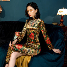 M-5XL Velvet Cheongsam Evening Dresses Long Sleeve Plus Size Dress Qipao Improve Woman Soft Flexible elastic