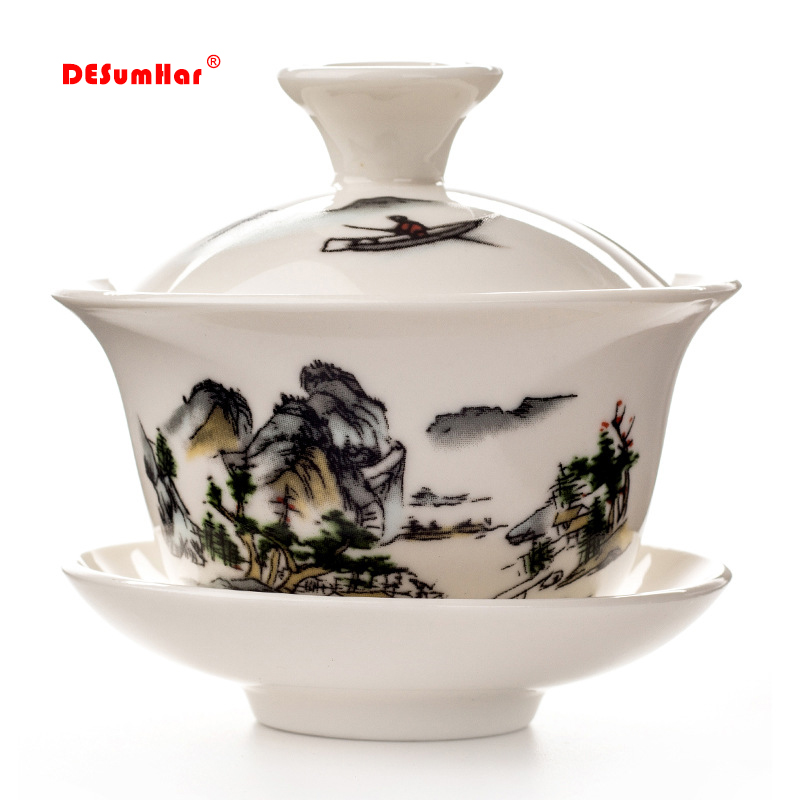 China Hand Painted Tea Set,Dehua High Quality White Porcelain Gaiwan Tea Porcelain Pot Set For Travel Beautiful And Easy Kettle