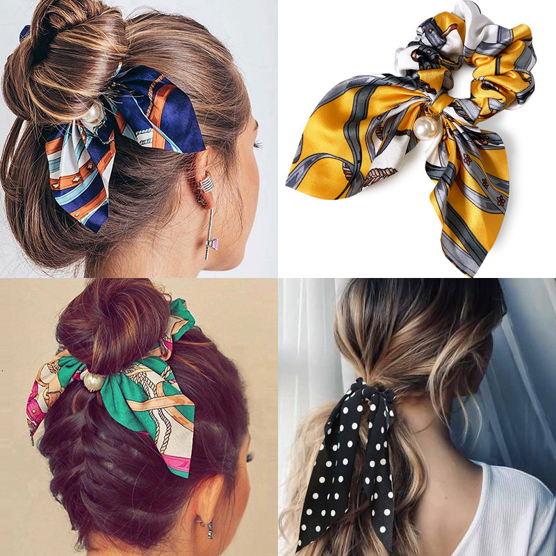 Chffion Hair Scrunchies Fashion Big Bow Women Pearl Ponytail Holder Tie Hair Elastic Rubber Bands Hair Accessories Headwear