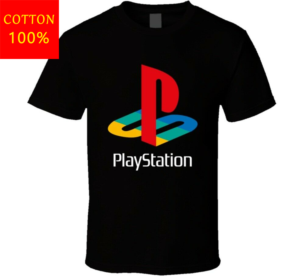 Playstation Throwback Logo Retro Gamers T Shirt Tee Shirt For Youth <font><b>MiddleAge</b></font> The Old image
