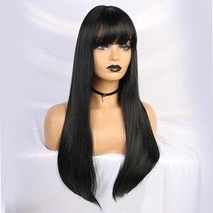 Image 3 - Длинные прямые черные парики термостойкие синтетические парики с челкой для женщин афро американские натуральные повседневные парики из натуральных волос для вечеринки