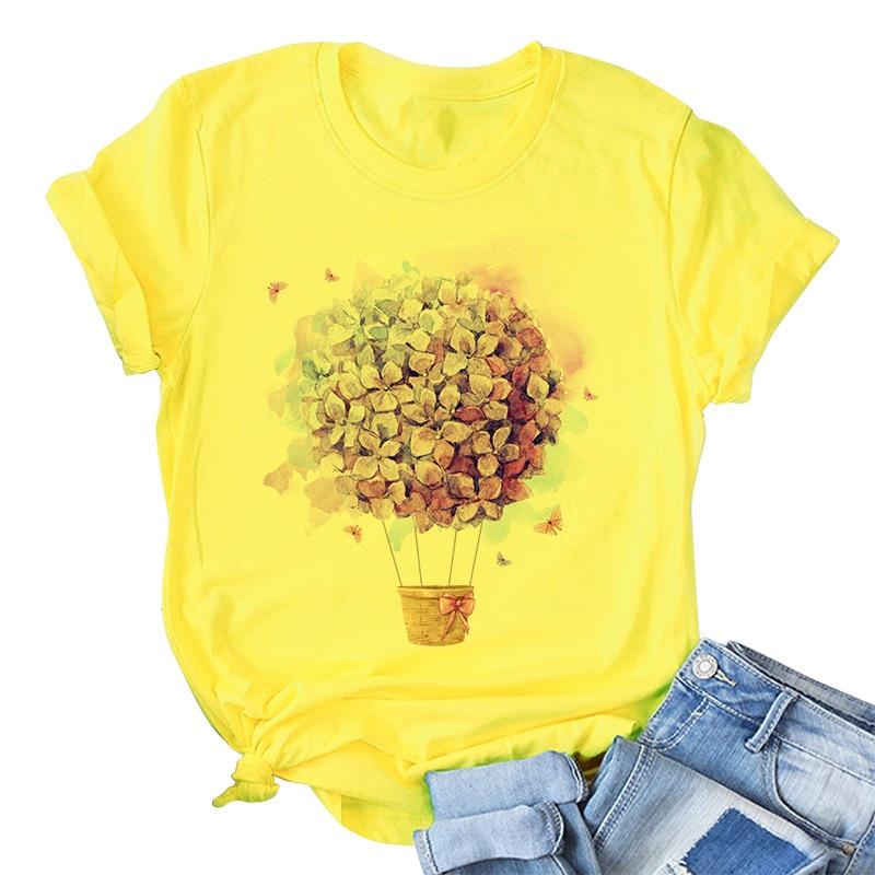 Yellow T Shirt Women 2020 New Summer Short Sleeve Floral Flower Fashion Lady Top Tshirt Ladies Womens Graphic Female Tee T-Shirt