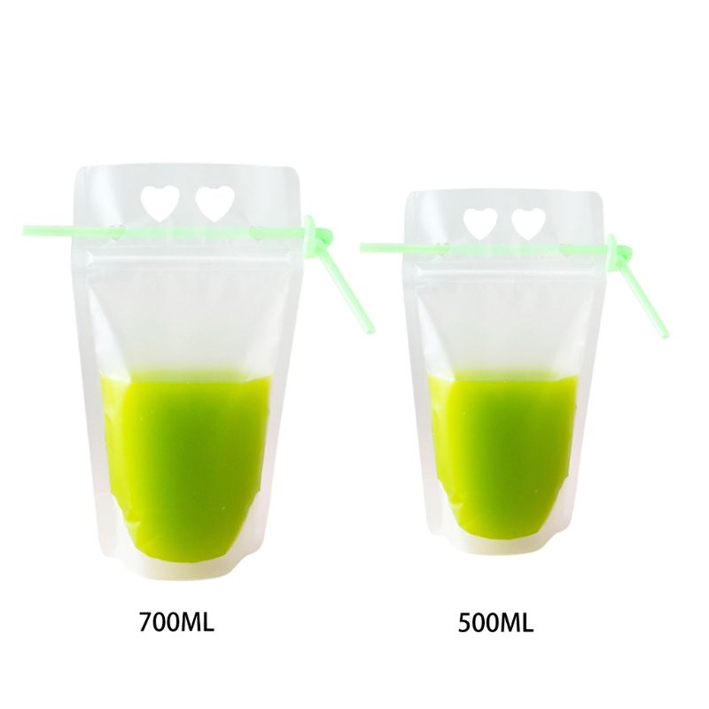 50PCS Disposable heart-shaped Juice Coffee Liquid Bag Vertical Zipper Seal Drink Bag Clear Drink Pouches With Straw Part