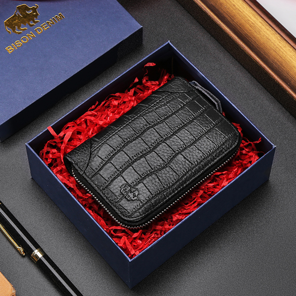 BISON DENIM Genuine Leather Wallet Men Business Credit Card Holder Wallet Multi-functional Coin Wallet Luxury Purse Wallet N9523