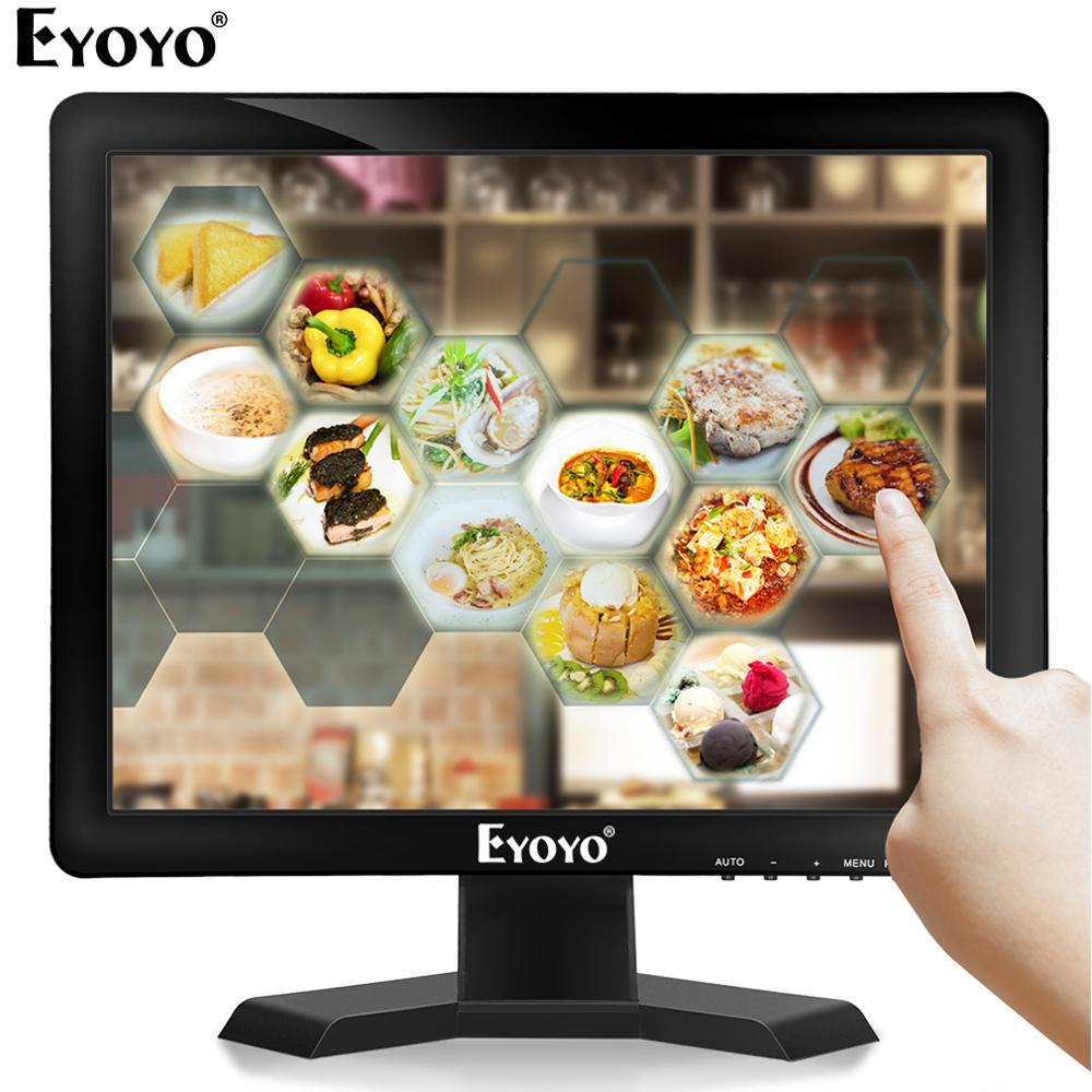 Eyoyo EM15T 15 écran tactile moniteur HDMI VGA écran affichage LED 1024 × 768 avec haut parleur pour système de position ordinateur industriel