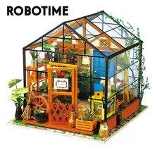 Robotime DIY zielony dom z meblami dzieci dorosły domek dla lalek miniaturowy domek dla lalek drewniane zestawy zabawka DG