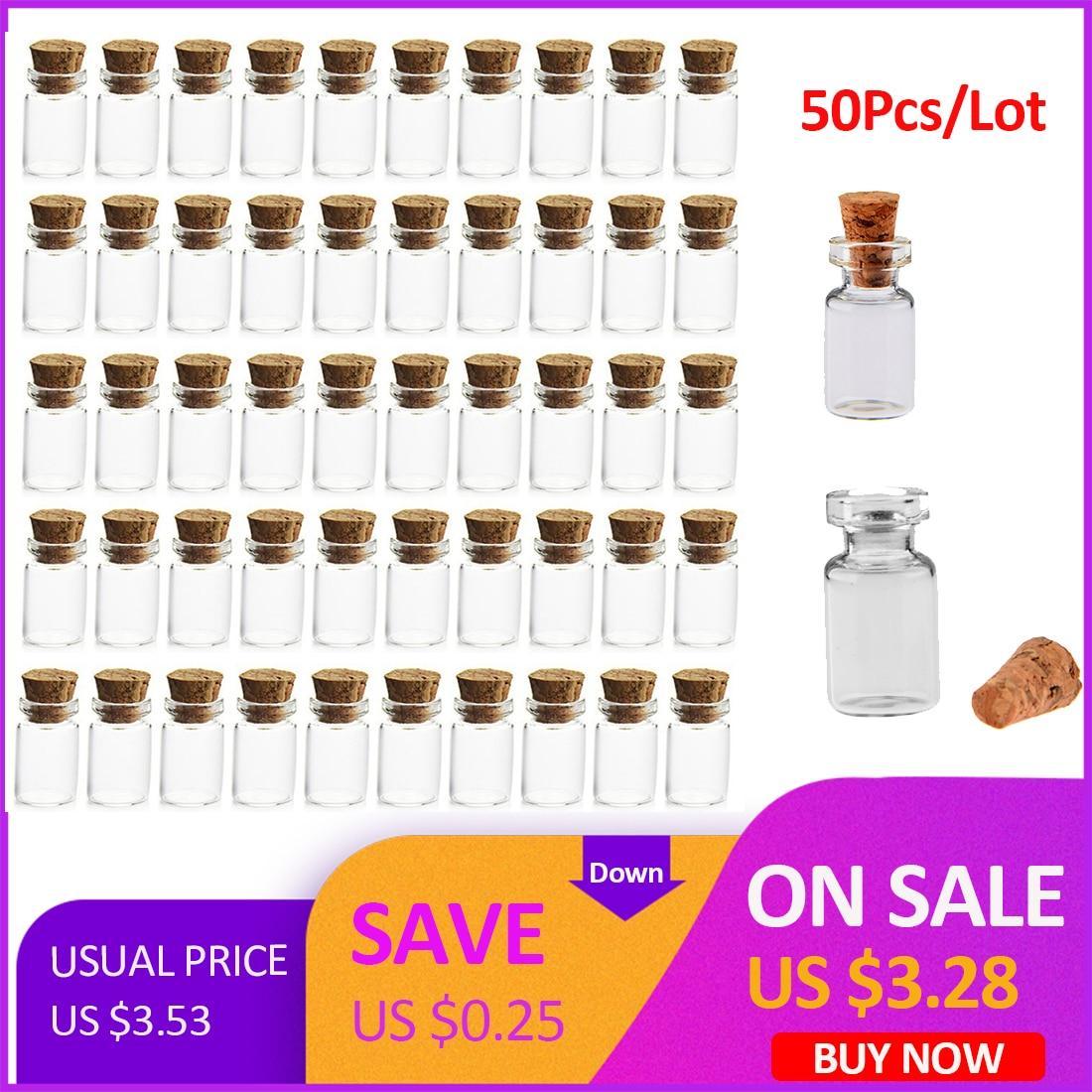 Precio al por mayor Mini frascos de botellas de vidrio transparente Frascos de muestra vacíos con tapón Mensaje Vial Bodas Botella de deseo Venta caliente