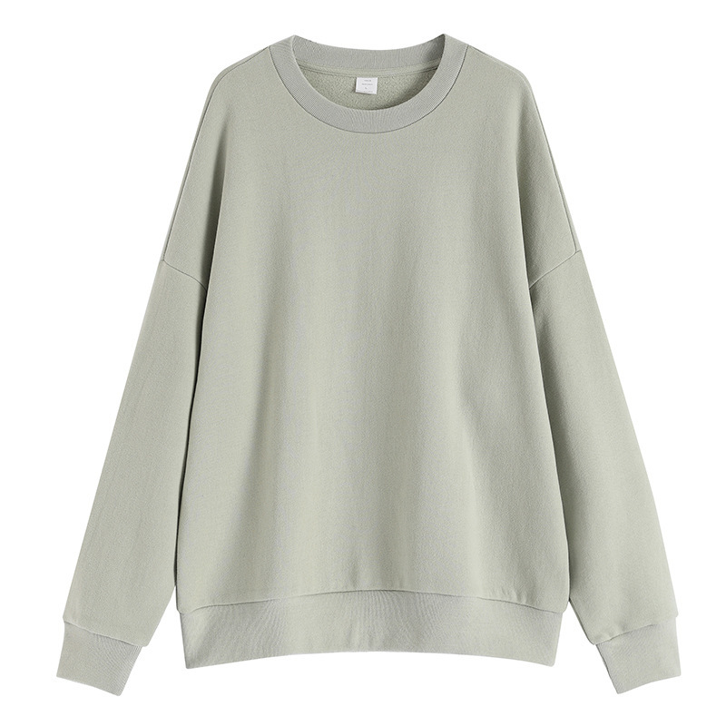 EWQ / Men's Wear Tide New 2020 Solid Color Cotton Round Neck Loose Oversize Sweatshirt For Men And Women Long Sleeve Tops 9Y1271