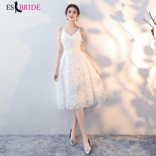 Sexy V-neck Backless Evening Dress Casual Fashion Wedding Party Formal White Simple Special Occasion ES1637