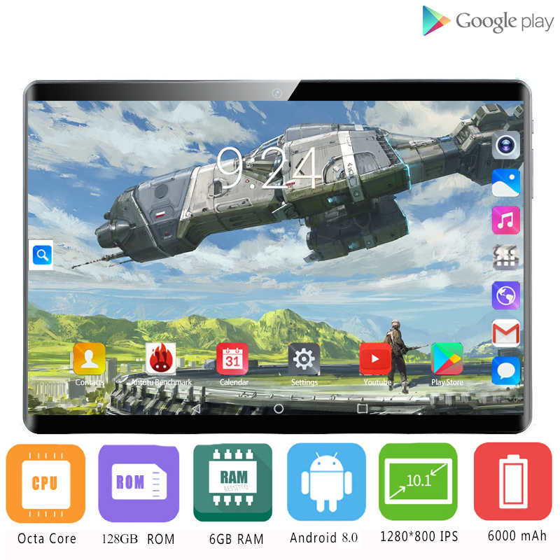 YAHU Original 10 Inch Tablet Pc 10 Core Android 8.0 RAM 6GB ROM 128GB 1920*1200 IPS Curved Screen 8MP Camera WIFI Tablets