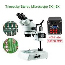 Phone PCB Soldering Repair Lab Industrial 7X 45X Simul-focal Trinocular Stereo Microscope +VGA HDMI 30FPS Camera Sets