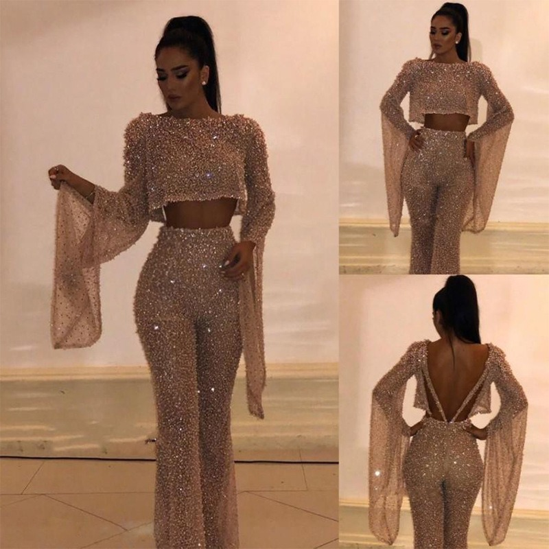 Women Sexy Glitter Sparkly Backless Jumpsuits Evening Party Clubwear Sexy Long Overalls Chic Dancer Night Out Outfits -85