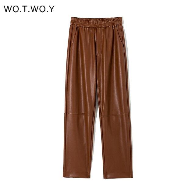 Elastic High Waist Leather Pants  4