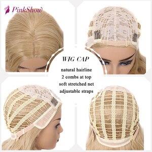 Image 5 - Парик блонд Pinkshow, Длинные Синтетические парики для женщин, глубокая волна, натуральный волос, повседневный парик