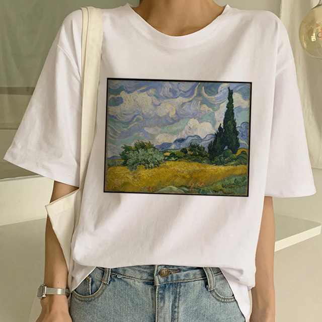 ZOGANKI New T Shirt Art Painting T Shirt Women Funny Print Short Sleeve T-shirt Harajuku Tshirt Fashion Top Tees Female T-shirts