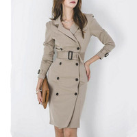 Dress Suits Women Long Blazer and Jacket Double Breasted Slim Bodycon Office Lady Autumn Winter Vintage Elegant Female Clothes