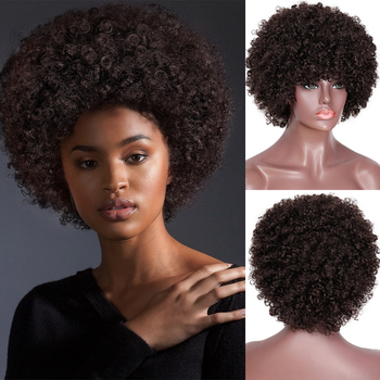 SUe wykwintne peruki syntetyczne dla czarnych kobiet Afro perwersyjne peruki syntetyczne z kręconymi włosami peruki syntetyczne ciepła odporne na ciepło odporne na pełne peruki tanie i dobre opinie SUe EXQUISITE Wysokiej Temperatury Włókna Krótki Kręcone 1 sztuka tylko Średnia wielkość