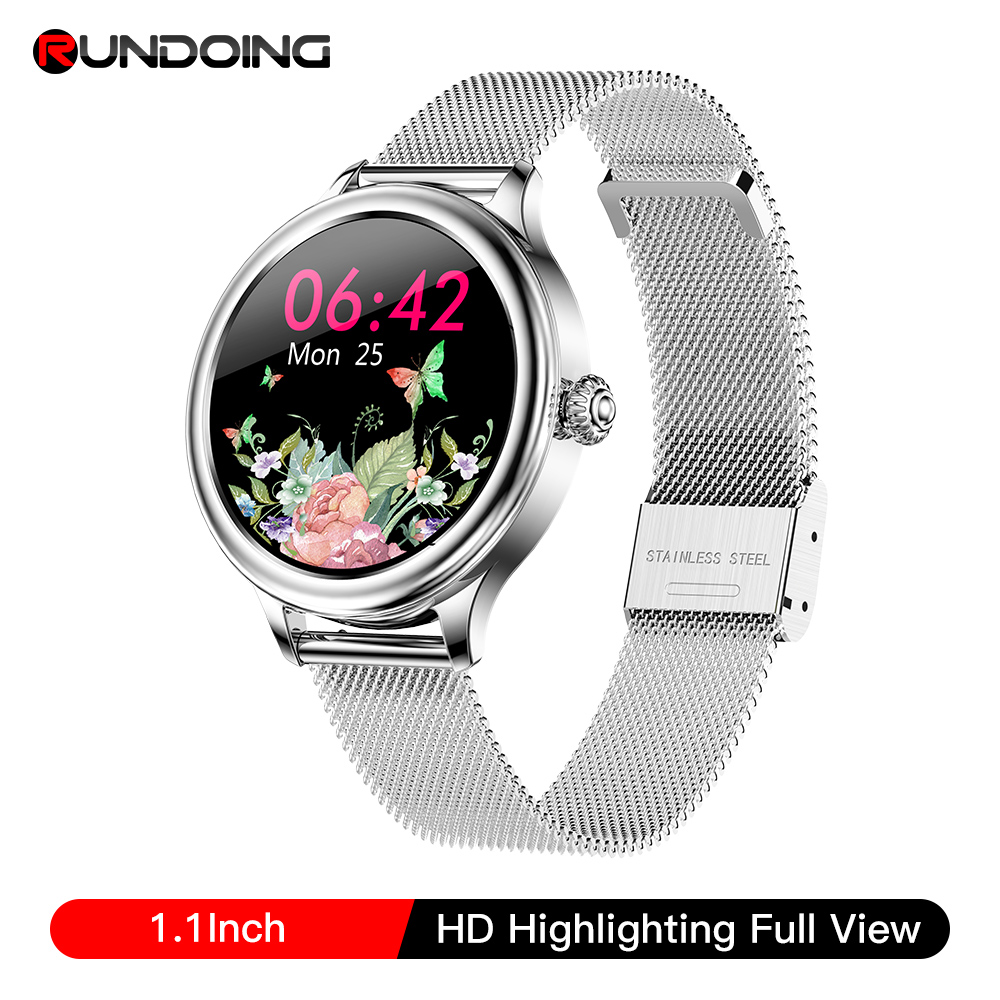 RUNDOING M4 women smart watch full touch round screen multiple sport modes with female function smartwatch for women watches