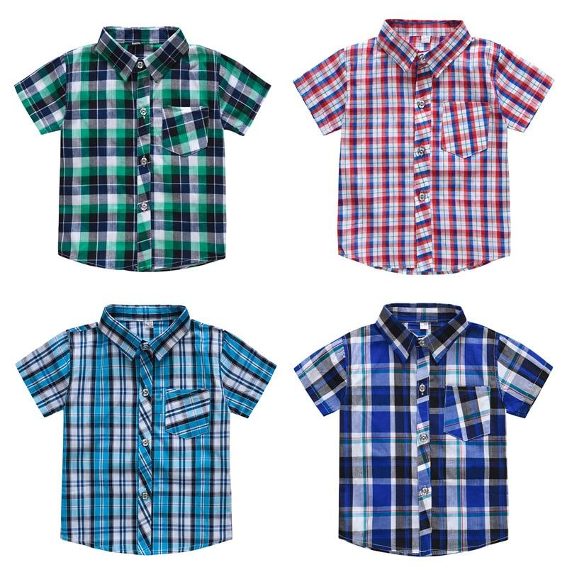 Classic Boy Plaid Shirts Short Sleeve Kids School Clothes Children Clothing Sweatershirt Teenage Top Boys Shirt Cotton