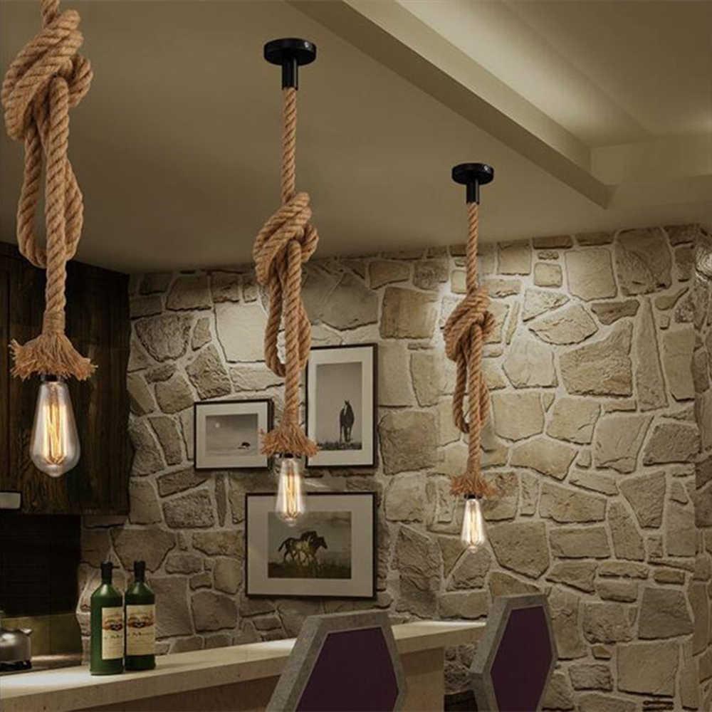 Скандинавский винтажный подвесной светильник E27 Эдисон винтажный свет пеньковая веревка Подвесные светильники в стиле ретро
