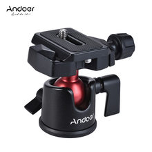 Andoer מיני כדור ראש שולחן חצובה Stand פנורמי צילום ראש עבור Canon Nikon Sony DSLR ראי מצלמה למצלמות