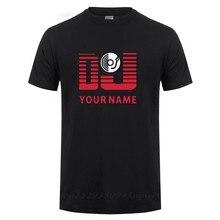 Dostosowane z twoim imieniem Logo DJ spersonalizowane nazwisko drukowane T Shirt dla mężczyzn mężczyzna z krótkim rękawem Hip-Hop koszulka bawełniana koszulka