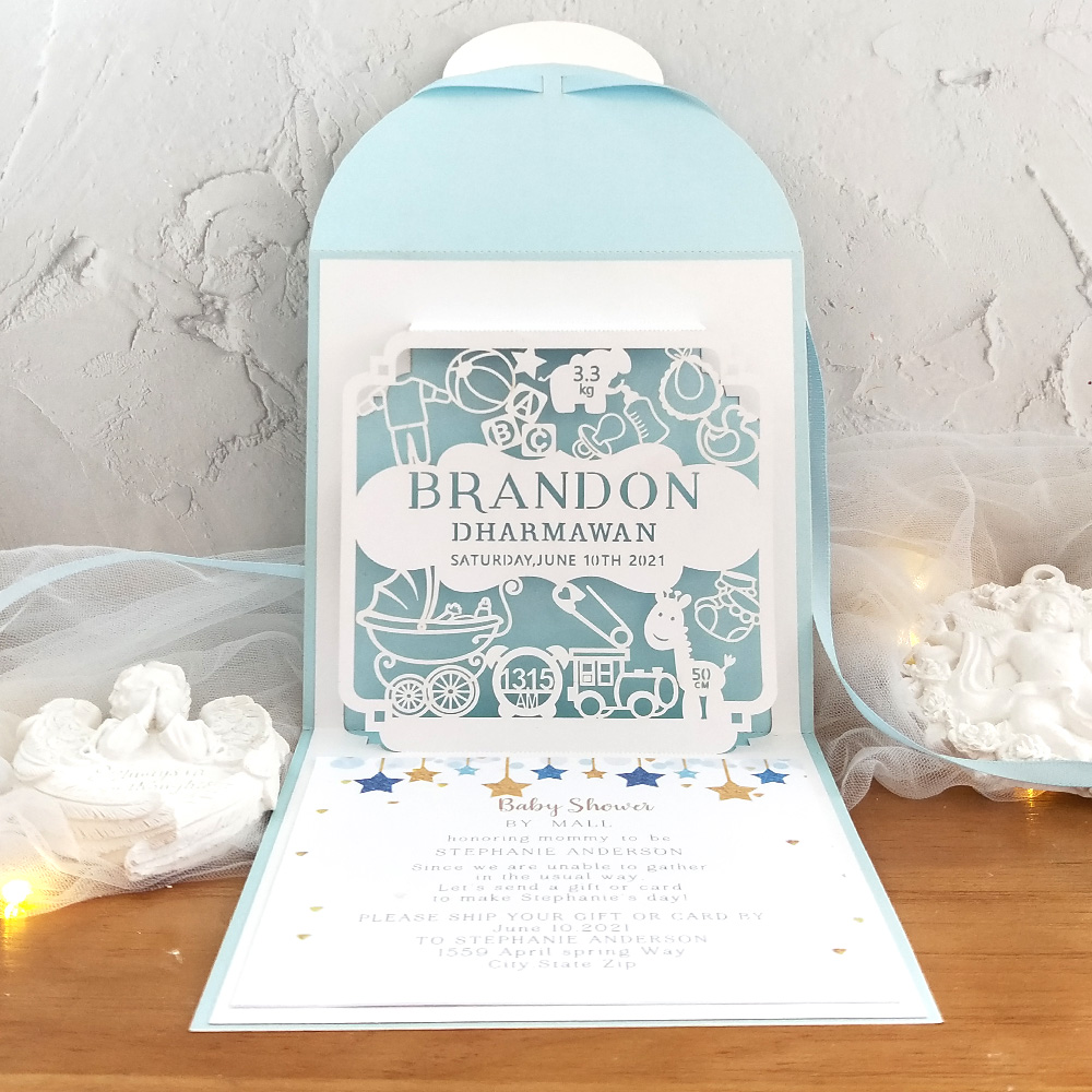 Baby shower invitation card Pop-out 3D Handmade Custom Baby Shower New Baby With Envelope