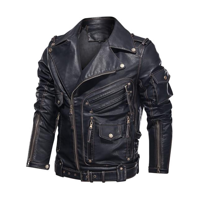Winter Mens Leather Jacket Men Fashion Motorcycle PU Leather Jacket Cool Zipper Pockets Leather Coats EU Size 5