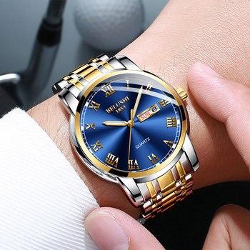 BELUSHI Business Mens Watches Famous Brand Luxury Big Dial Male Watch Waterproof Quartz Gold Watch Men montre homme 2021 2