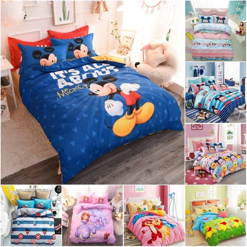 Disney New Cotton Mickey Minnie Winnie Sophia Bedding Sets  Covered Sheet PillowCase For Kids Boys Girl Chidren Bed 1.2 1.5m