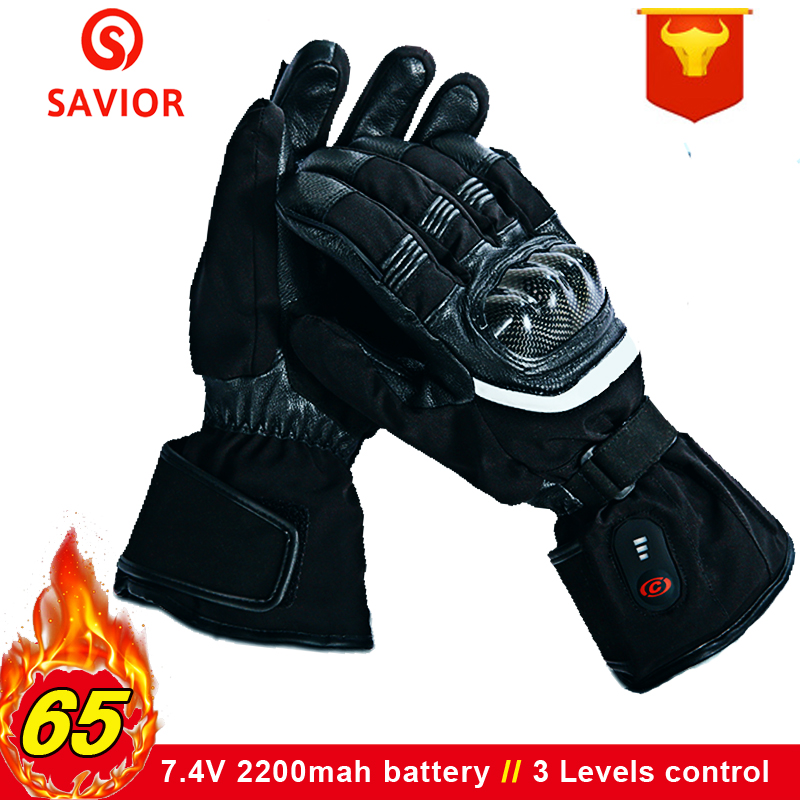 SAVIOR 7.4V Motorcycle Electric Heated Gloves Battery Rechargeable Winter Warm Waterproof Outdoors Sports Cycling Ski Gloves