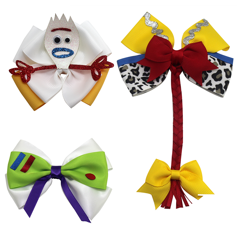 Cartoon Forky Toy Storys Hair Bows Double Layer Glitter Hair Clips Bowknot Hairpins Princess Headwear For Girls Hair Accessories