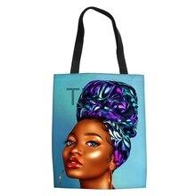 цена Black African Girls Print Foldable Reusable Shopping Bags Women Ladies Foldable Shoulder Canvas Bag Torba Na Zakupy онлайн в 2017 году