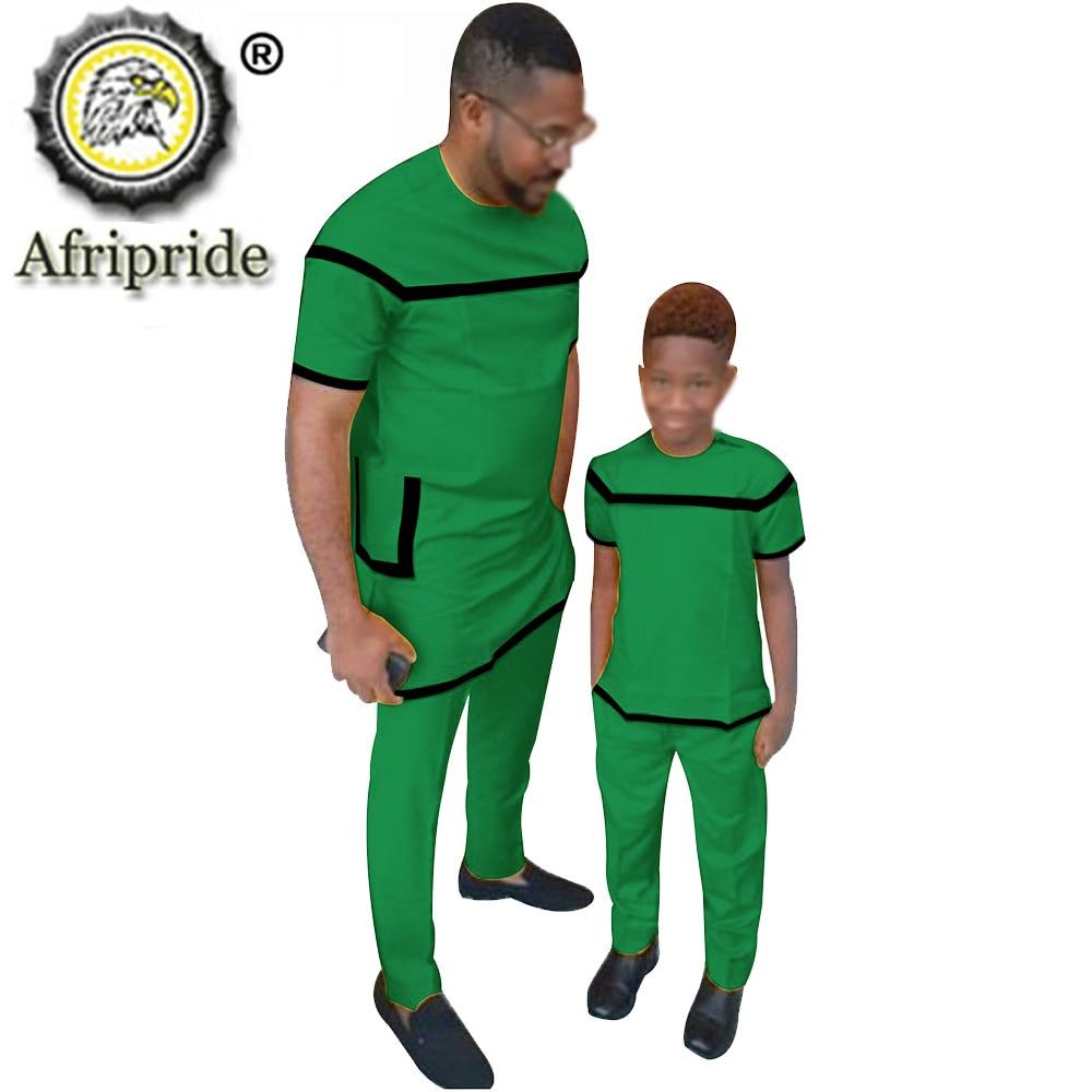 African Parent-Child Outfit Wax Print Ankara Short Sleeve 100% Cotton Dashiki Suit AFRIPRIDE S20F001