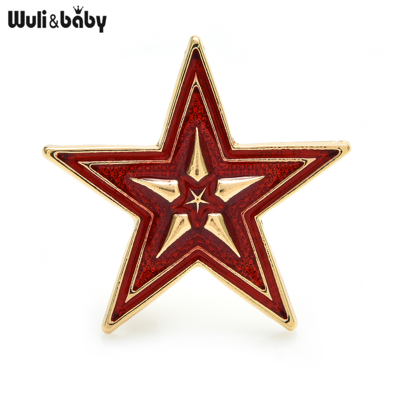 Wuli&baby Quality Enamel Star Brooch Pins For Men And Women Jewelry Gift New Metal Badge