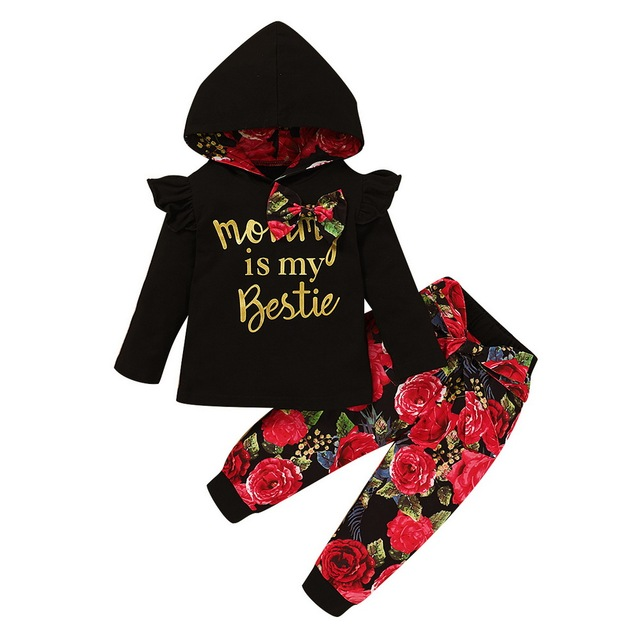 Autumn Rose Print Baby Girls Clothes 2Pcs Set 2020 Winter Long Sleeve Kids Clothes For Girls Ruffle Black Hoodies+Pants D30