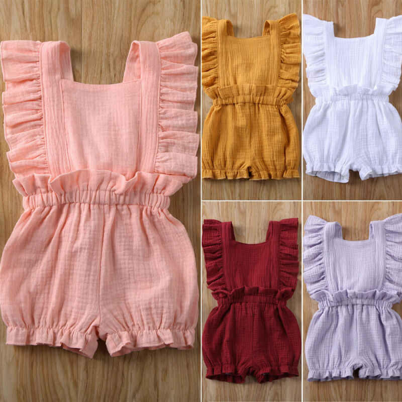 Pasgeboren Baby Baby Girl Kids Kleding Ruche Zomer Romper Jumpsuit Outfits