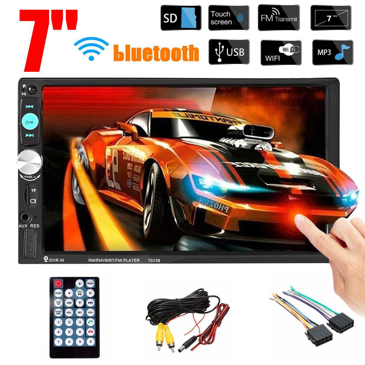 """7/"""" 2DIN HD Car Stereo Radio MP5 Player Bluetooth AUX Touch Screen /& Rear Camera"""