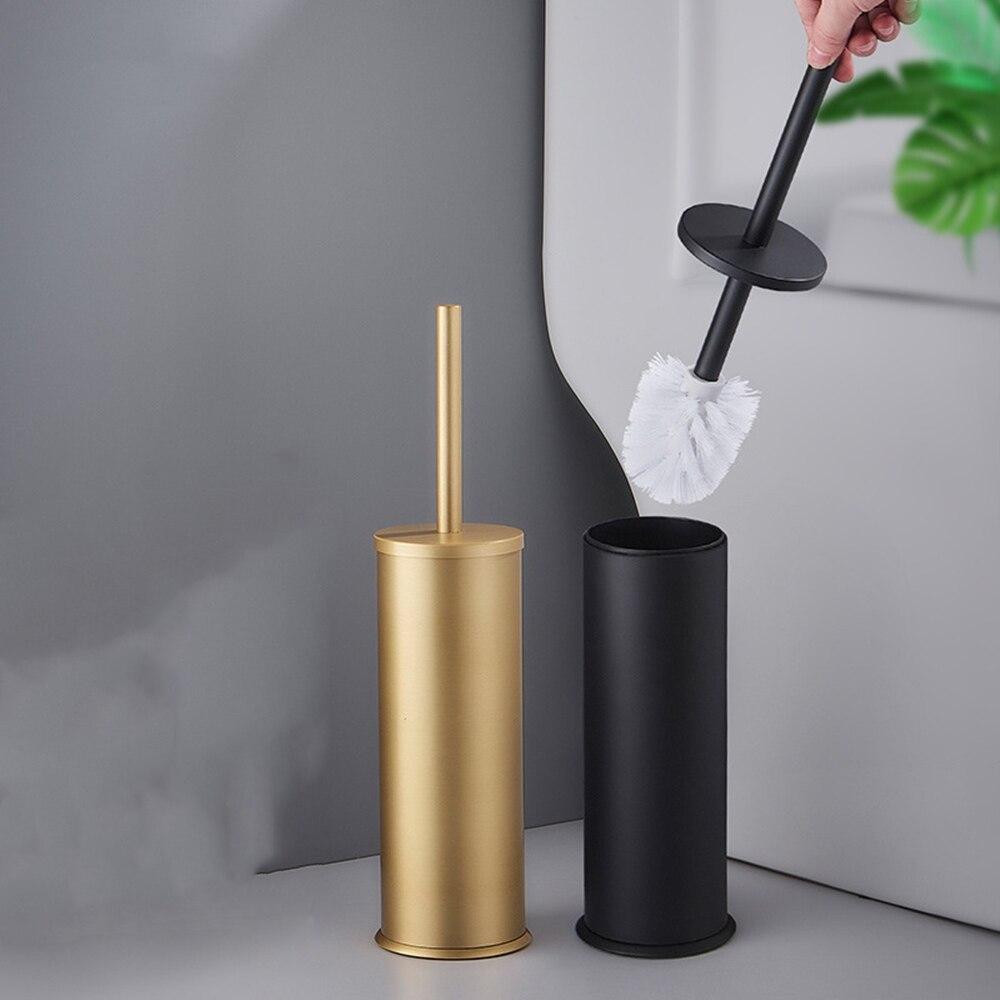Aluminum Toilet Brush Holder Brush Gold Black Toilet Brush Holders Set Bathroom Clearing Lavatory Standing Toilet Bathroom Shelf