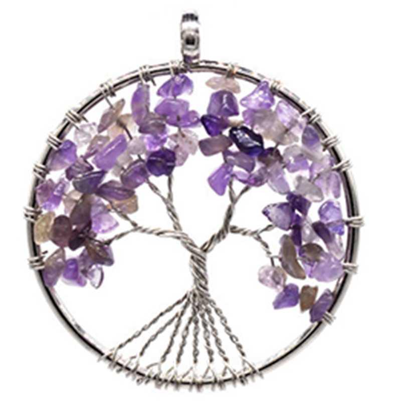 7 Chakra ควอตซ์หินธรรมชาติ Tree of Life จี้สร้อยคอคริสตัลสร้อยคอจี้ Reiki เครื่องประดับ