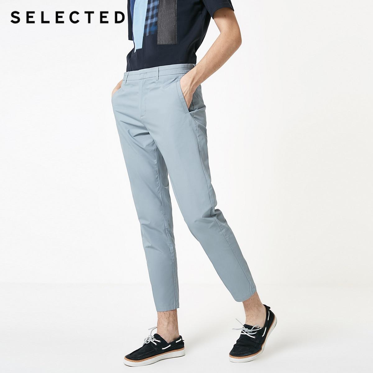 SELECTED Men's 100% Cotton Pure Color Straight Fit Pants S|419214520