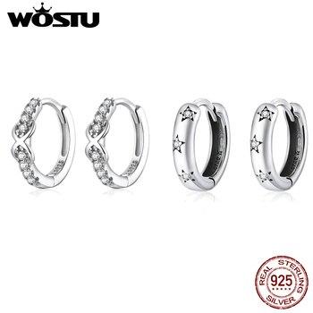 WOSTU 2020 Genuine 925 Sterling Silver Jewelry Black Spinel Stone Cute Stud Earrings for Women Girls Gift 1