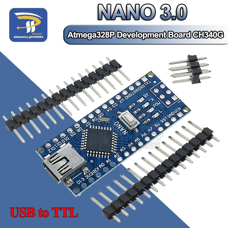 5V 16MHz Nano V3.0 Mini Usb Atmega 328P-AU Micro Controlador CH340G para Arduino