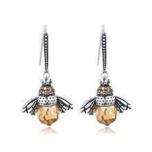 Moda rainha abelha cristal gota balançar brincos gancho animal brinco cz feminino charme nupcial casamento jóias presente